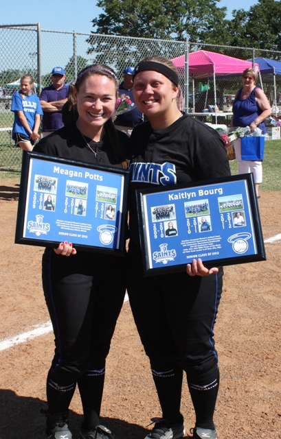 Meagan Potts and Kaitlyn Bourg were honored during their last home games.
