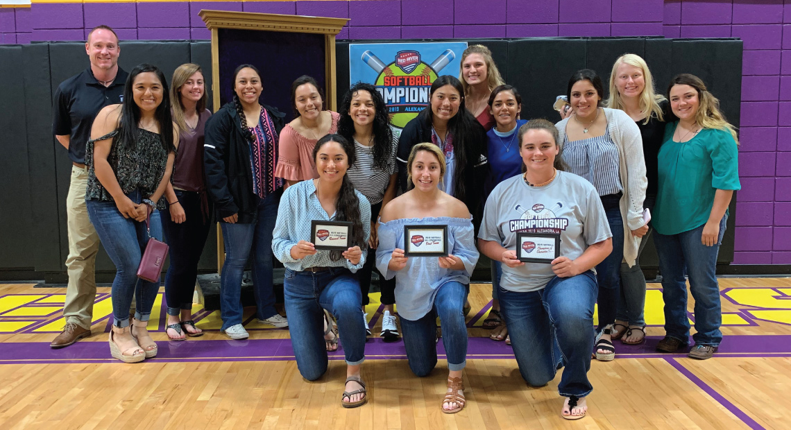 OLLU softball's Ciera Martinez, Kayla Dreese and Ariel Montgomery honored with RRAC awards at welcome banquet.