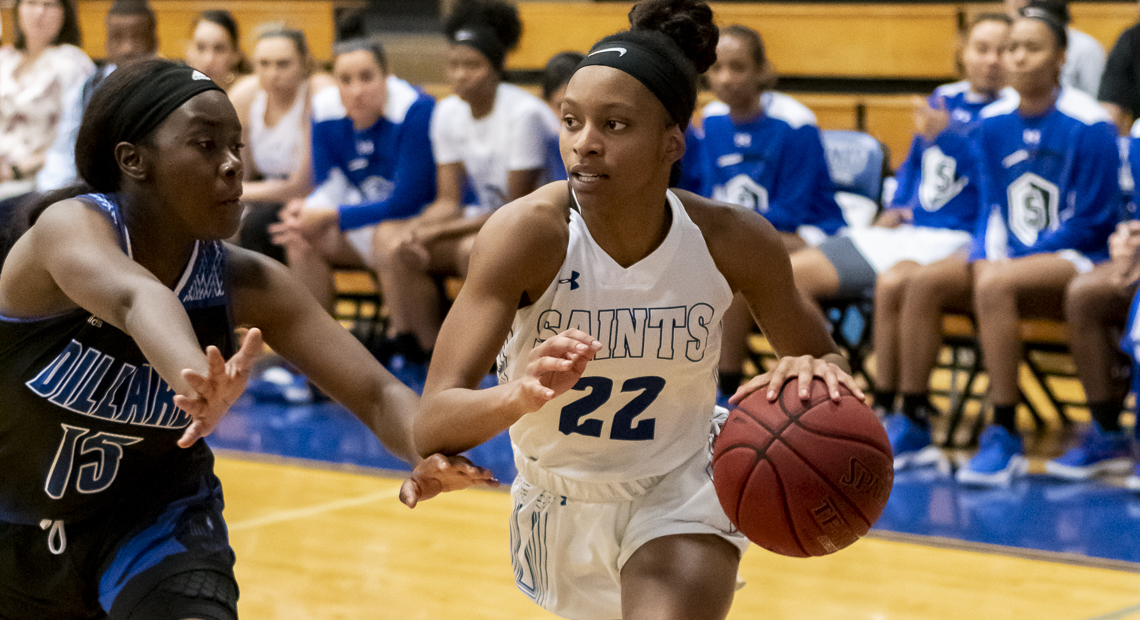 Lena Wilson helped guide the Saints to victory against Dillard University.